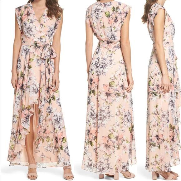Eliza J Floral Ruffle High Low Maxi Dress